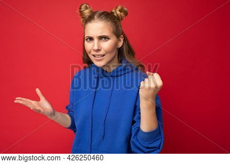 Photo Of Emotional Agressive Young Beautiful Blonde Woman With Two Horns With Sincere Emotions Weari