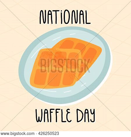 National Waffle Day Banner. Cute Hand-drawn Waffles On A Plate, A Checked Tablecloth Background And
