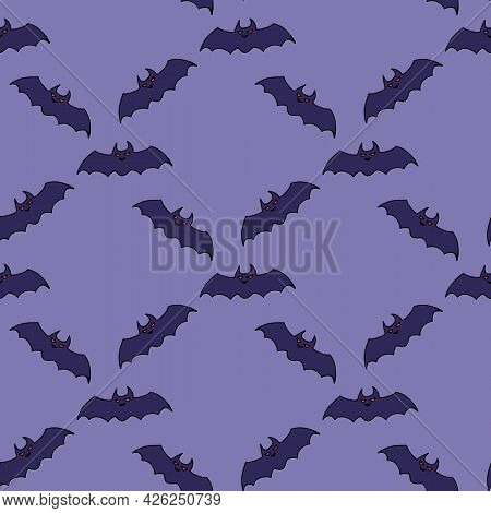 Seamless Pattern With Bat On Light Violet Background. Vector Image.