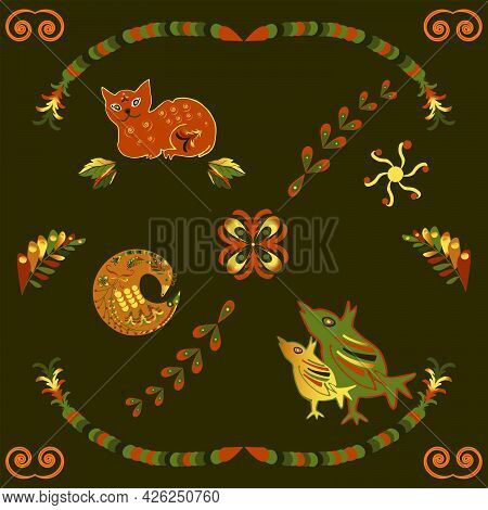 Russian Pattern For Decorating Jewelry Boxes, Ceramics And Fabrics