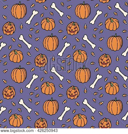 Seamless Pattern With Scary Pumpkin, Bones And Candies On Discreet Violet Background. Vector Image.