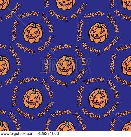 Seamless Pattern With Scary Pumpkin And Text Halloween On Bright Violet Background. Vector Image.
