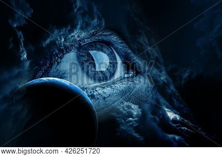 Human eye and space. Elements of this image furnished by NASA. . Mixed media