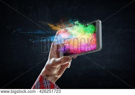 Innovation and creativity concept . Mixed media