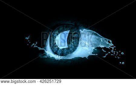 Macro image of human eye . Mixed media