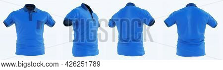 3d Render Of Blue Man's T-shirt With Short Sleeves, T-shirt Blue Fabric Design Short Sleeves Set Col