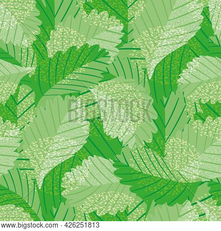 Painterly Green Vector Leaves Seamless Pattern Background. Jungle Style Backdrop With Overlapping Va