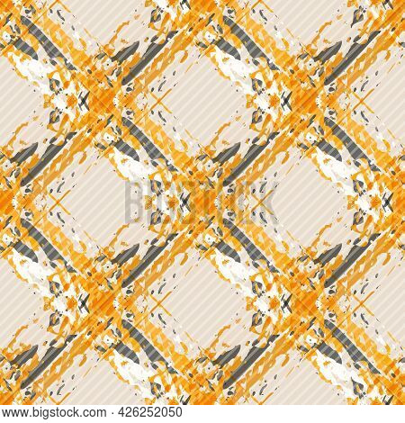 Vector Watercolor Effect Wicker Weave Canvas Seamless Pattern Background. Painterly Criss Cross Back