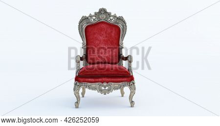 3d Render Of Classic Baroque Armchair Throne In Bronze And Red Colors Isolated On White Background.