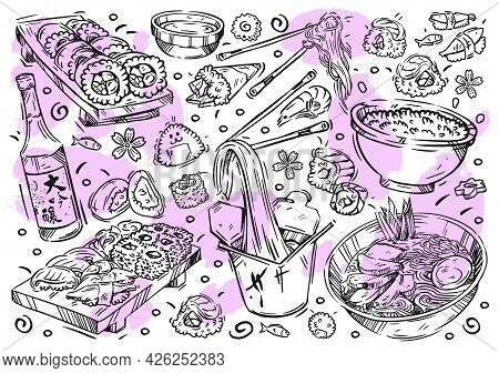 Hand Drawn Vector Line Illustration Food On White Board. Doodle Japanese Cuisine: Rolls, Sushi, Nigi