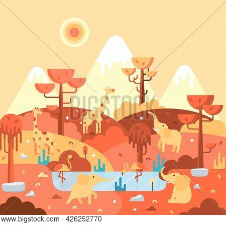 Flat Cartoon Illustration, Giraffe, Elephant And Pink Flamingos On The Lake - African Landscape In S