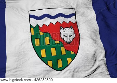 Full Frame Close-up On A Waving Flag Of Northwest Territories (canada) In 3d Rendering.