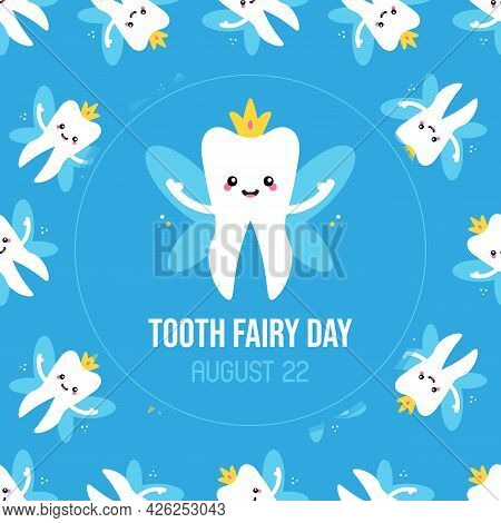 National Tooth Fairy Day Vector Cartoon Style Greeting Card, Illustration With Cute Cartoon Tooth Fa