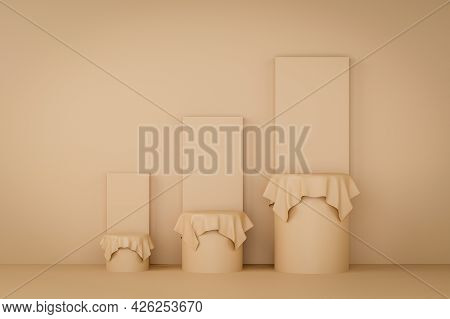 Circle Podium Brown Pastel Color Covered With Cream Cloth With And Three Rank And Graph. Mock-up Sho