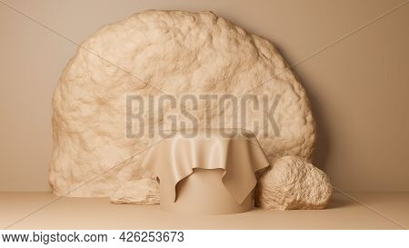 Circle Podium Brown Pastel Color Covered With Cream Cloth With Big Rock. Mock-up Showcase For Produc