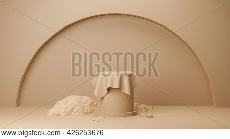 Circle Podium Brown Pastel Color Covered With Cream Cloth With Rock. Mock-up Showcase For Product Br