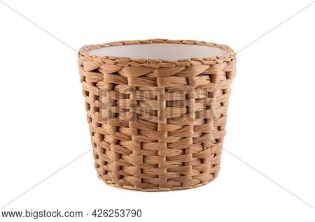 Wicker flowerpot isolated on white background with clipping path