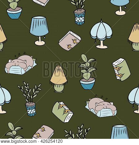 Cosy Hamsters Plants And Books Seamless Pattern