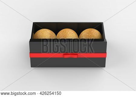 Kraft Paper Box With Chocolates In Foil Mockup Isolated On White Background. 3d Illustration