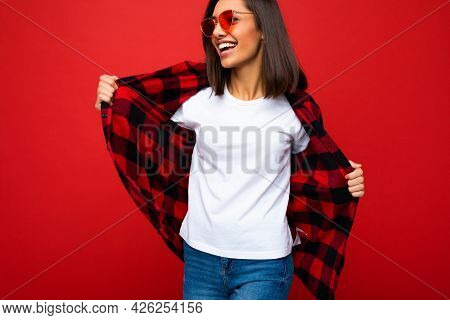 Photo Of Young Beautiful Happy Smiling Brunette Woman Wearing Trendy White T-shirt With Empty Space