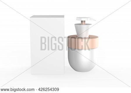 Cream Jar Isolated On White Background. Skin Care Product Package. 3d Illustration.