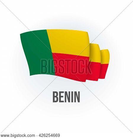 Vector Flag Of Benin. Beninese Waving Flag. Vector Illustration.