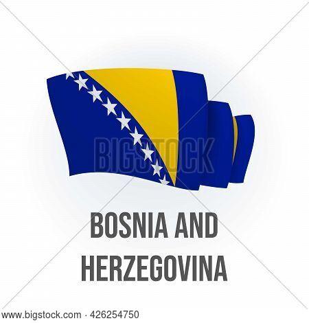 Vector Flag Of Bosnia And Herzegovina. Bosnian Waving Flag. Vector Illustration.