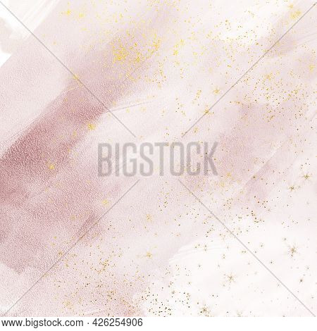 Liquid Pink Marble Digital Canvas Abstract Painting Background With Gold Stars Splatter Texture. Blu