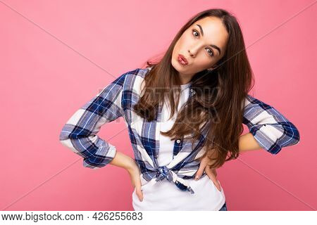 Photo Shot Of Cute Nice Charming Gorgeous Attractive Pretty Youngster Happy And Funny Woman Wearing