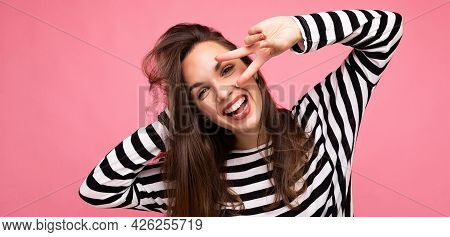 Panoramic Photo Of Young European Positive Smiling Winsome Happy Amusing Beautiful Brunette Woman Wi