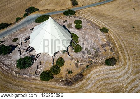 Arial View Of Kalavasos Tenta Or Tenda, Neolithic Archaeological Monument. Kalavassos Village Larnac