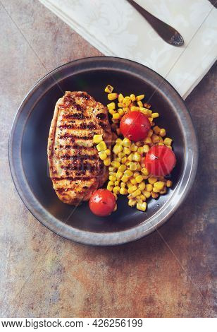 Grilled Turkey Breast On Stone Background. Top View. Copy Space.