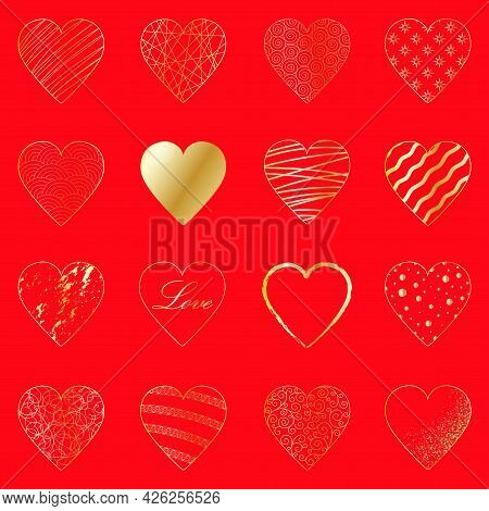 Set Of 16 Elegant Gold Hearts On A Red Background. Luxury Abstract Design Template. Vector Decor For