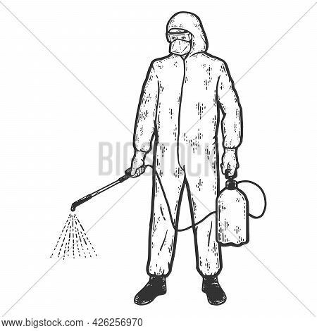Disinfector Character In Protective Suits With Poison Spray Bottle. Sketch Scratch Board Imitation C
