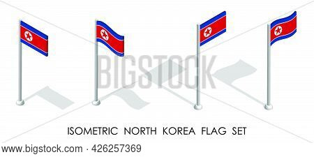 Isometric Flag Of Dprk, North Korea In Static Position And In Motion On Flagpole. 3d Vector