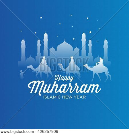 Happy Muharram Islamic New Year Festival Background. Good For Banner, Background, Greeting Card, Wal