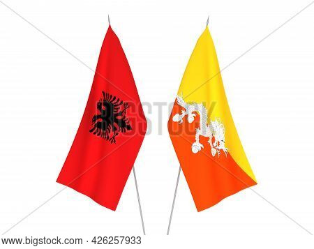 National Fabric Flags Of Republic Of Albania And Kingdom Of Bhutan Isolated On White Background. 3d