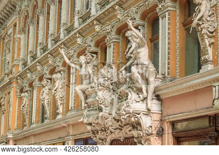 Odessa, Ukraine, October 9, 2012: The Facade Of The Passage Hotel With Female Statues In Odessa. The