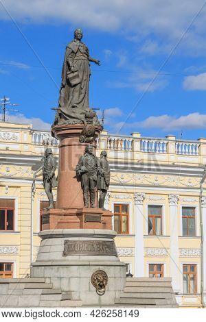 Odessa, Ukraine, October 9, 2012: Bronze Monument To Empress Catherine 2 In Odessa. Vertical Orienta
