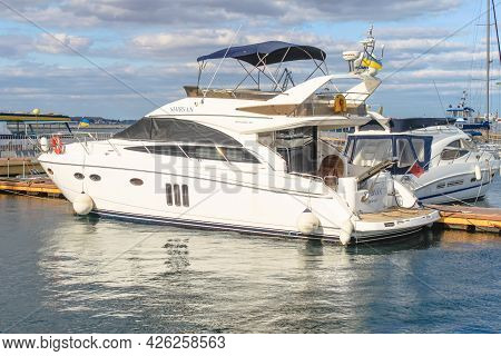 Odessa, Ukraine, October 9, 2012: The Motor Yacht Princess 50 Is Moored In The Port. A Planing Yacht