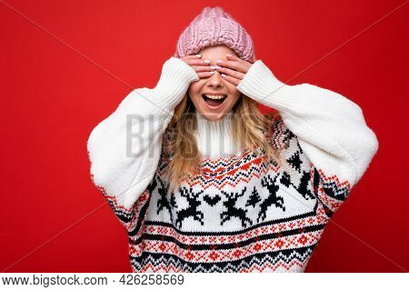 Photo Of Young Positive Happy Beautiful Blonde Lady With Sincere Emotions Wearing Pink Knitted Hat A