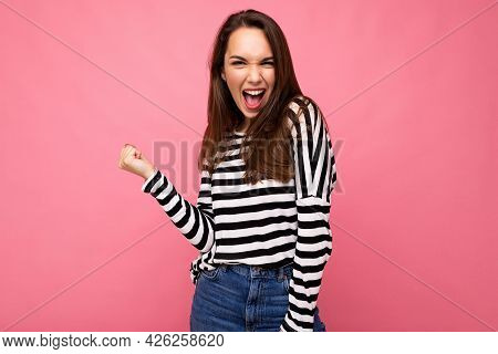 Portrait Of Young Emotional Positive Happy Beautiful Brunette Woman With Sincere Emotions Wearing St