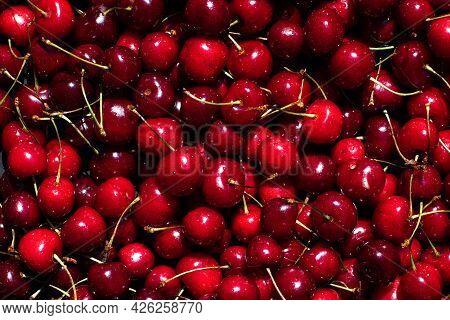 Sweet Ripe Cherry. Bunch Of Sweet Cherries. Top View. Macro Photo Fresh Cherry. Background Sweet Che