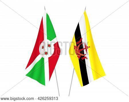 National Fabric Flags Of Burundi And Brunei Isolated On White Background. 3d Rendering Illustration.