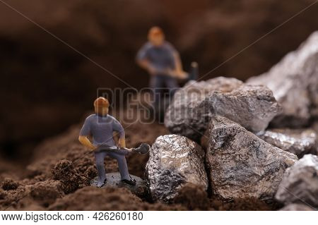 Mining Of Cobalt. Miniature Worker Mining Metal Zinc And Silver. Mining Business Or Department Of Mi