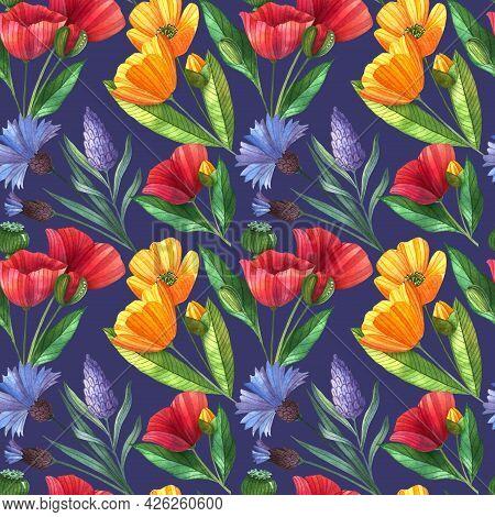Watercolor Seamless Pattern With Poppies, Buttercups, Lavender, Cornflowers And Leaves. Floral Eleme