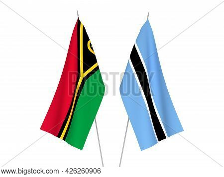 National Fabric Flags Of Botswana And Republic Of Vanuatu Isolated On White Background. 3d Rendering