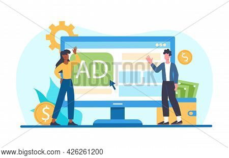 Male And Female Characters Paid For Advertising Click On Website. Young Man And Woman Standing Next