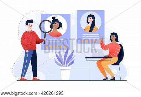 Male And Female Characters Are Recruiting New Employees Together. Concept Of Economical Employment P