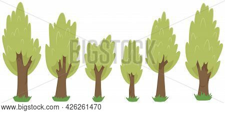 Set Of Trees In Cartoon Style Isolated On White Background Vector Illustrstion